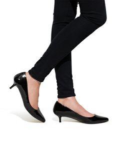 Iris - A kitten heel in a glossy patent finish.