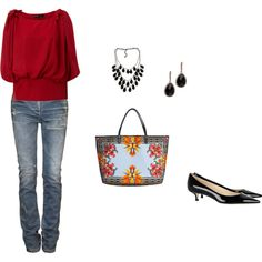 red and givenchy bag--wish I could master these styles!