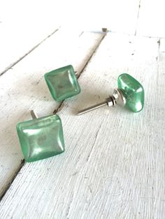 "Add a personal touch to doors, cabinet doors, dresser doors and more with these antique style, glass knobs. Shown in ""Sea Glass Turquoise"". Cabinet Drawers, Cabinet Knobs, Handmade Accessories, Home Decor Accessories, Sea Glass Decor, Glass Knobs, Decor Styles, Antique Silver, Dresser"