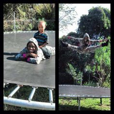 Trinity McCray (Naomi) & her nephew playing on a trampoline