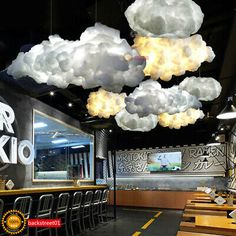 White Floating Cloud Pendant Light Restaurant Bar Lamp Fixture For Indoor Lighting Decoration Wholesale Price + Coupon Discount Drop Ship Banggood Hanging Lights Living Room, Ceiling Hanging, Living Room Lighting, Hanging Lamps, Hanging Clouds, Restaurant Bar, Decoration Restaurant, Restaurant Lighting, Modern Restaurant