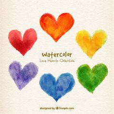 Watercolor colors hearts collection Free Vector