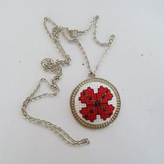 Embroidered necklaceEmbroidered pendant Red by KoserowaHandMade Embroidery Jewelry, Hand Embroidery, Traditional Anniversary Gifts, Valentine Day Gifts, Mother Day Gifts, My Etsy Shop, Cross Stitch, Handmade Gifts, Round Pendant