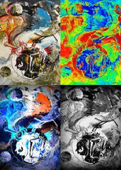 schilderij van Carlos Staelens 3x geftografeerd bewerkt