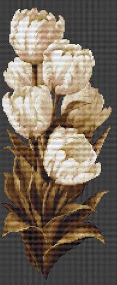 White Tulips Cross Stitch Kit