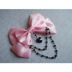 Hair clip or Brooch pink bow with black glass heart and black beads pastel goth