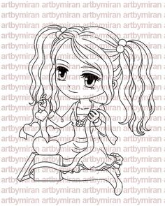 Digital Stamp - A Gift of Love, Digi Stamp, Coloring page, Printable Line art for Card and Craft Supply