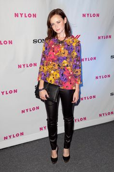 Alexis Bledel donning our Bird Leather Leggings #JuicyFriends  http://www.juicycouture.com/Leather-Legging/YU000927,default,pd.html?dwvar_YU000927_color=001=1=leather%20legging=search