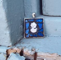 Woman Cameo Pendant Framed Pendant by PiecesofhomeMosaics on Etsy, $20.00