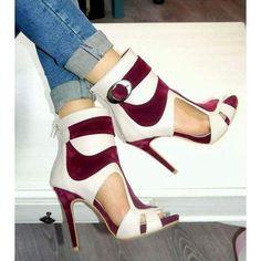 88080b8380a7 Color Block Peep Toe Cut Out Back Zipper Stiletto High Heels Short Boot  Sandals