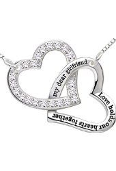 """ALOV Sterling Silver """"my dear girlfriend love holds our hearts together"""" Love Heart Pendant Necklace $38.99 Prime ALOV Sterling Silver"""