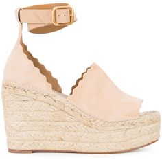 Chloé wedge espadrilles (52.870 RUB) ❤ liked on Polyvore featuring shoes, sandals, white, ankle strap sandals, summer wedge sandals, leather sandals, wide width wedge sandals and white ankle strap sandals