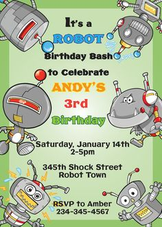 Robot Birthday Invitation by SweetTreatsDesignsLJ on Etsy
