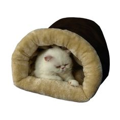 Armarkat Tube Pet Bed in Mocha & Beige