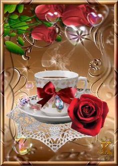 Good Morning Coffee Gif, Love Good Morning Quotes, Good Morning Images Flowers, Good Morning Beautiful Images, Good Morning Cards, Beautiful Love Pictures, Beautiful Flowers Pictures, Beautiful Gif, Good Morning Greetings