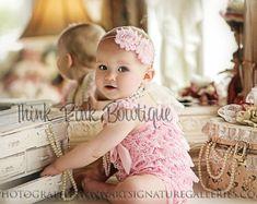 Cream petti lace romper and headband SET petti by ThinkPinkBows