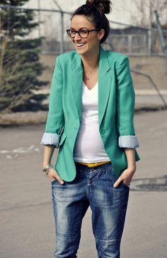 v-neck tee, bright blazer, bf jeans, specs