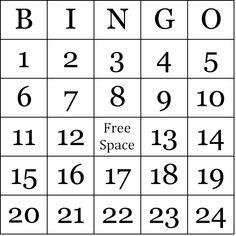 Printable Bingo Card Templates  Bingo Card Template Printable