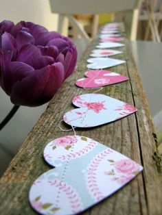 """Shabby Rose Garland..Made from quality heavy double-sided designer card stock  hand cut the hearts - each measures 2"""" -and then stitched together using double cotton thread.  Garland measures 10' and is finished with beautiful ribbons,"""