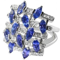 ALFIERI & ST JOHN 4Ct Sapphire & 0.2Ct Diamond Set Designer Ring in 18ct Gold