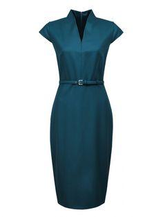 Платье-футляр из шерсти с поясом - Обтравка