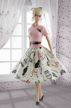 """ Skirt and Sweater by Gwendolyns Treasures Barbie I, Vintage Barbie Dolls, Barbie World, Barbie Dress, Barbie And Ken, Barbie Clothes, Barbie Outfits, Vestidos Retro, Barbie Patterns"