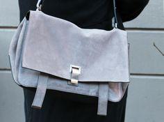 New Proenza Schouler bag, ps courier in mushroom. Grey suede. : Minimal + Classic