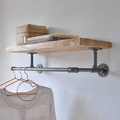 Portobello Industrial Clothes Shelf - Are you interested in our industrial wooden storage shelf? With our steel pipe clothes rail you nee - Diy Clothes Rack Pipe, Hanging Clothes Racks, Clothes Shelves, Clothes Rail, Hanging Racks, Wooden Clothes Rack, Hanging Bar, Diy Hanging, Laundry Room Storage
