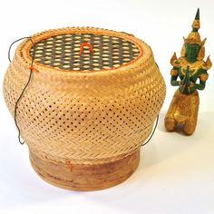 Behälter Klebereis Bast Thailand rund beige groß 20x24cm