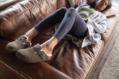 Cozy, cute and barefoot comfy: Boston clogs from Birkenstock lined with genuine shearling. Now in stock in steel blue, mocha, and bordeaux suede.