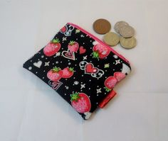 Glittery Hearts and Strawberries Black Fabric Coin Purse - Free P £5.00