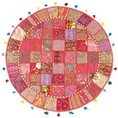 Round Embroidered Floor Pillow Tapestry with Cowry Shells from India