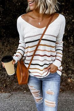 Striped V-neck Knitted Sweater P15614, Black / 2XL Cute Fall Outfits, Fall Fashion Outfits, Mode Outfits, Fall Winter Outfits, Sweater Fashion, Autumn Winter Fashion, Casual Fall Fashion, Fall Outfit Ideas, Everyday Casual Outfits