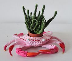 Hand painted crab planter. by JulieJohnsonGallery on Etsy