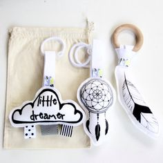 Dreamer Baby Toy Set / Dream Catcher / Feather / Cloud / Teether / Rattle / Wool Felt