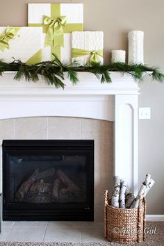 [Christmas] Sweater Wrapped + Satin Ribbon Presents Over The Fireplace via @justagirlblog1