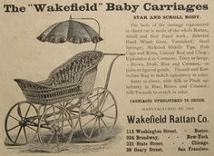 1880 Antique Wakefield Rattan Baby Carriage Ad ~ Scroll & Star Vintage Ads, Vintage Antiques, Vintage Stuff, Antique Prints, Vintage Prints, Old Advertisements, Advertising, Rattan, Wicker