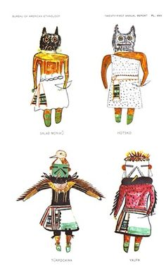 Hopi Katcinas Drawn By Native Artists - Fawkes, Jesse Walter. The Hopi Indians represent their gods in several ways, one of which is by wearing masks or garments bearing symbols that are regarded as characteristic of those beings. - See more at: http://www.hillcountrybooks.com/?page=shop/flypage&product_id=2899&keyword=hopi&searchby=title&offset=0&fs=1#sthash.5MapsEEK.dpuf