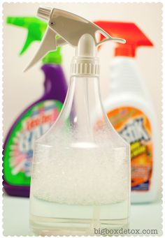 Make Your Own Homemade all purpose cleaner- 1 teaspoon liquid dish soap 1 half teaspoon baking soda 2 tablespoons vinegar 2 cups water - this has been great ! Also made my own granite cleaner with 2 cups water, 2 tablespoons rubbing alcohol and 2 teaspoons liquid dish soap.