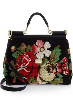 Dolce & Gabbana Miss Sicily needlepoint Wool Tapestry & Leather Tote Tote Handbags, Purses And Handbags, Tote Bags, Chloe Handbags, Leather Handbags, Fashion Bags, Fashion Accessories, Beautiful Bags, My Bags