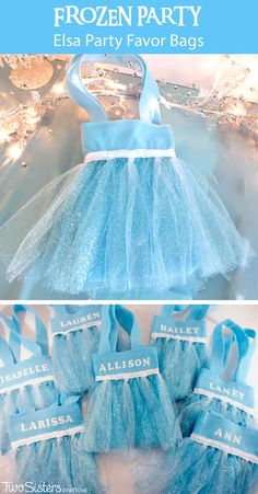 Disney Frozen Elsa Party Favor Bags - These DIY party favor bags were the hit of our Frozen Birthday Party. Pretty, sparkly and fit for an ice queen, the girls at the party loved them.