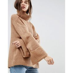 ASOS Jumper in Oversized with Deep Cuffs ($47) ❤ liked on Polyvore featuring tops, sweaters, stone, drop shoulder sweater, thick knit sweater, asos sweater, oversized tops and high neckline tops