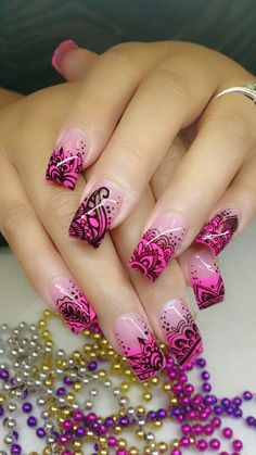 Hot nails For other models, you can visit the category. For more ideas, please visit … Creative Nail Designs, Colorful Nail Designs, Beautiful Nail Designs, Cute Nail Designs, Beautiful Nail Art, Creative Nails, Pink Nail Art, Cute Acrylic Nails, Pink Nails