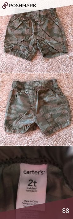Toddler camo shorts Carter's toddler camo shorts, size 2t. Excellent used condition. 100% cotton. Make offers Carter's Bottoms Shorts