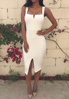 White Plain Slit Square Neck Cotton Blend Midi Dress - Midi Dresses - Dresses