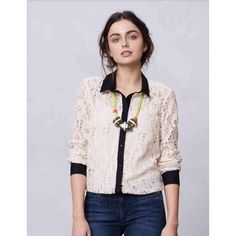Anthropologie Gemma Lace Button Down Beautiful button down blouse by Vanessa Virginia! Cream colored lace with black collar, black button down strip, and black wrist cuffs. PERFECT condition! Only worn once. Perfect for the fall and winter months. Can be dressed up or dressed down! Anthropologie Tops Button Down Shirts