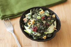 Apple Kale Salad with Mint Yogurt Dressing  | MyFoodDiary.com