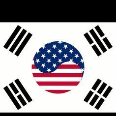 Korea's flag + America's flag = possible future tattoo.