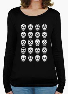 Camiseta Chica manga larga, Emoticones Calaveras, 3 colores a legir por solo 22,90€