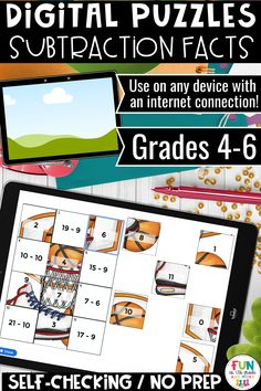 These no prep, self checking digital subtraction fact puzzles are perfect for independent or partner work, early finishers and distance learning! Compatible with any device including iPad, chromebooks